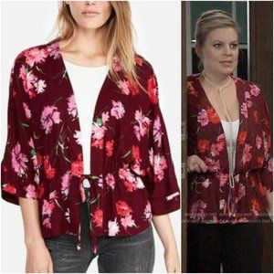 Express Floral Cinched Waist Kimono Sleeve Top